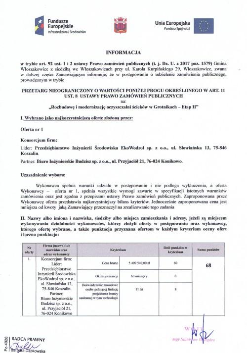 informacja z wyboru ofert rozbudowy i modernizacji oczyszczalni ścieków w Grotnikach - Etap II